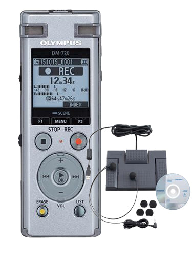 Olympus DM720 Digital Recorder & AS2400 Transcription Kit