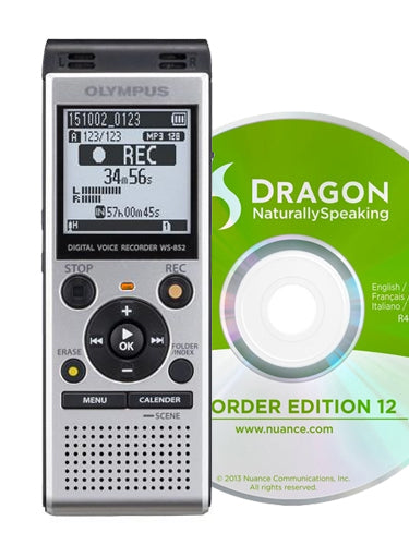 Olympus WS852 Digital Voice Recorder with DNS12 Speech Recognition