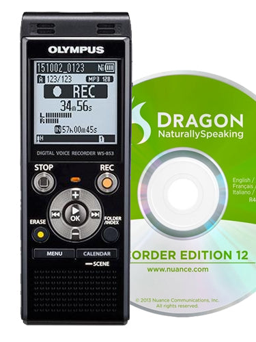 Olympus WS853 Digital Voice Recorder with DNS12 Speech Recognition