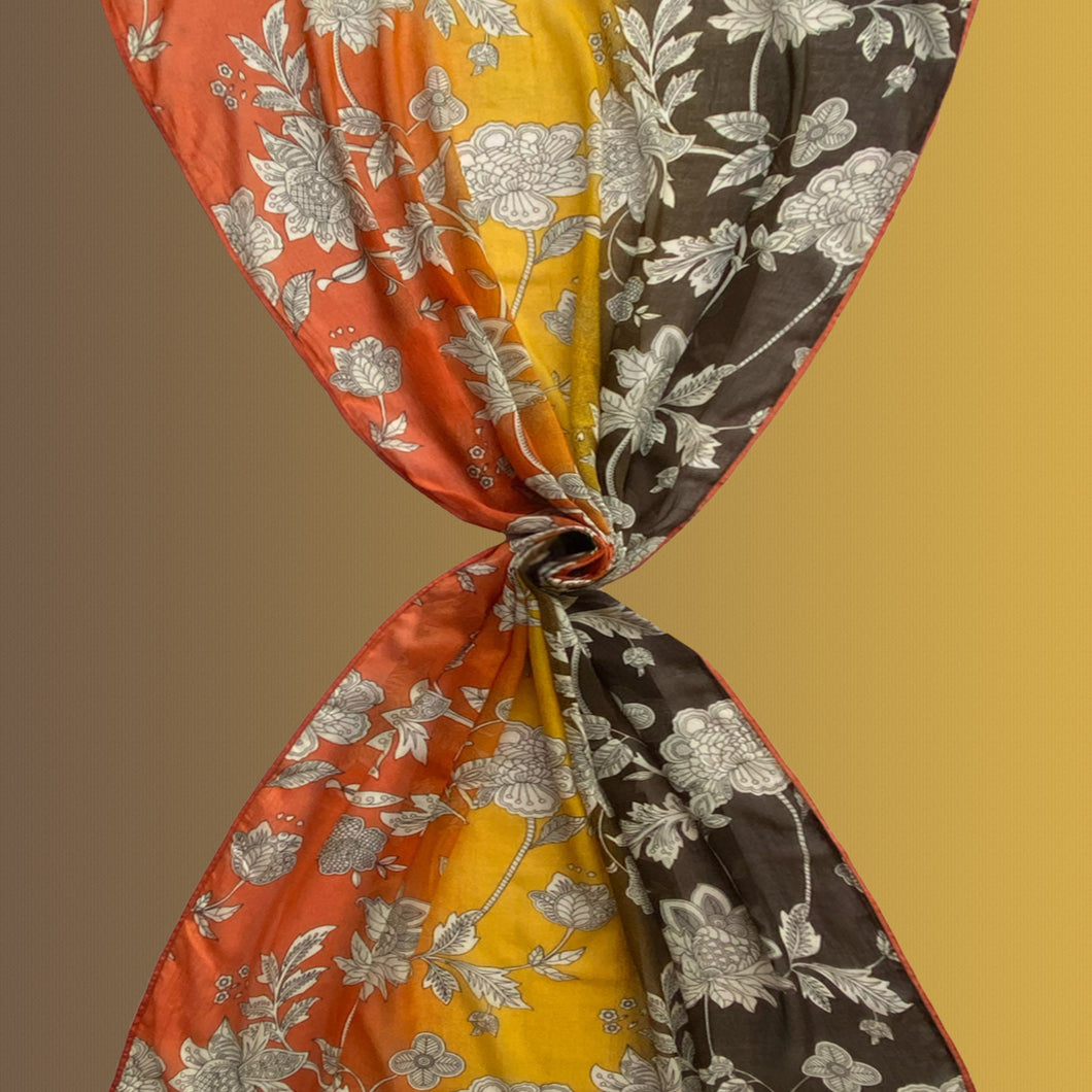 Hermosa orange - cotton khadi scarf with grosgrain ribbons