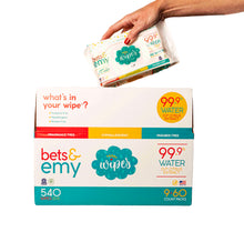 Load image into Gallery viewer, Bets & Emy | 540 ct (9 pk, 60 wipes per pk) 99.9% Water!