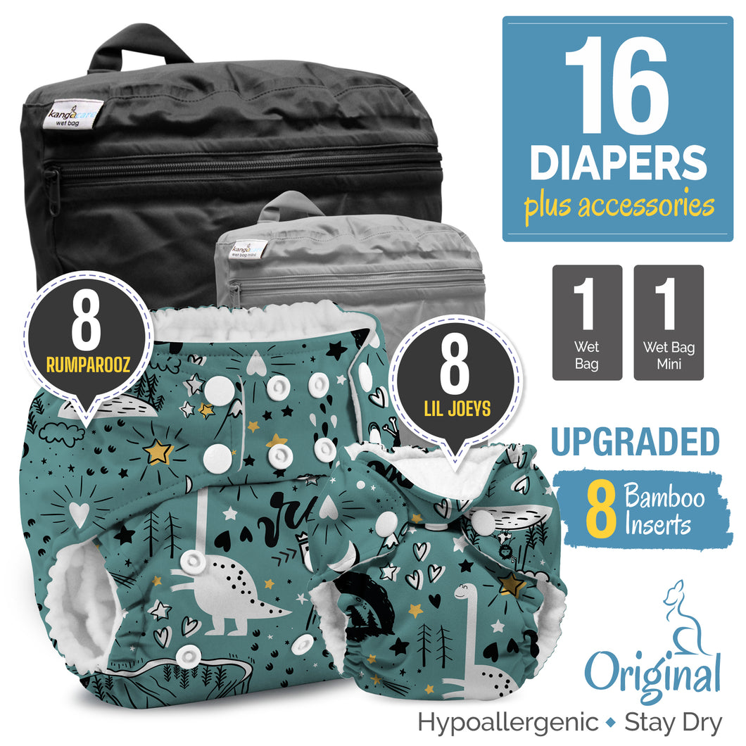 Rumparooz One Size & Lil Joey Newborn Cloth Diapers Starter Bundle with Bamboo
