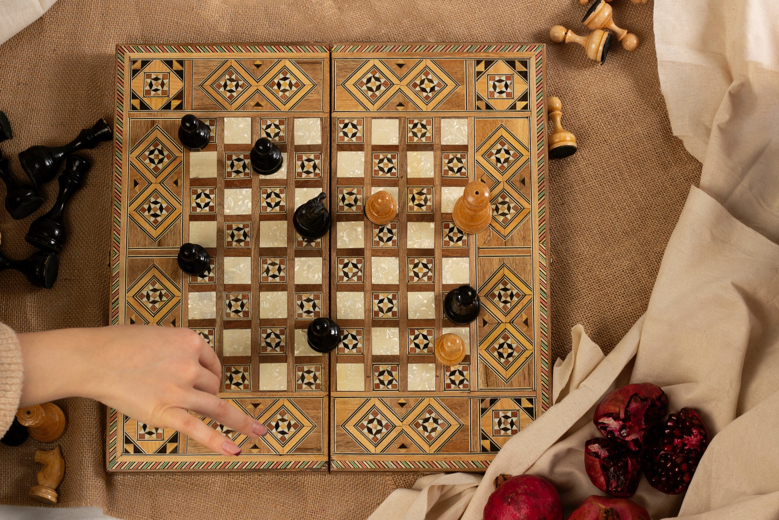 Handcrafted Mosaic Chess & Tavloo Board (Presale)
