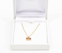 Load image into Gallery viewer, Gold Plated & Jeweled Armenian Flag Necklace