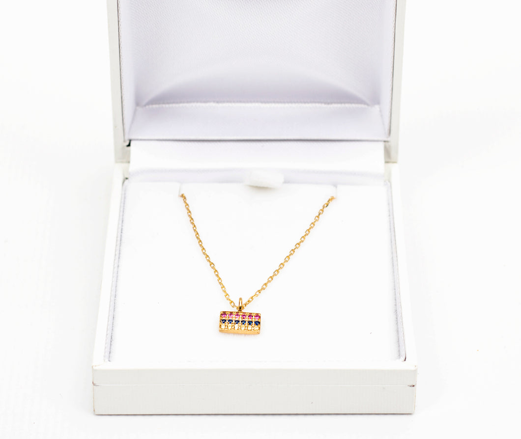 Gold Plated & Jeweled Armenian Flag Necklace