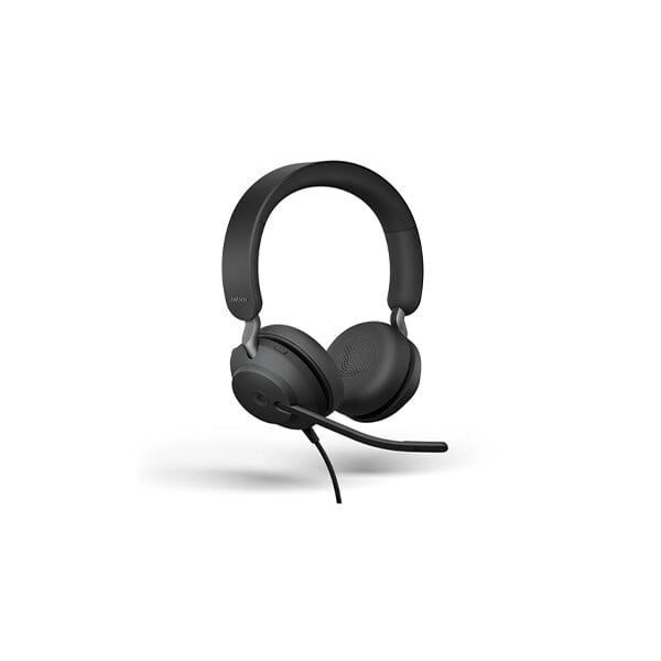 Jabra Evolve2 40 UC Wired Headphones, USB-A, Stereo, Black, Telework Headset