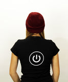 iCreate, Black Powerup T-Shirt (Mens & Ladies cuts)