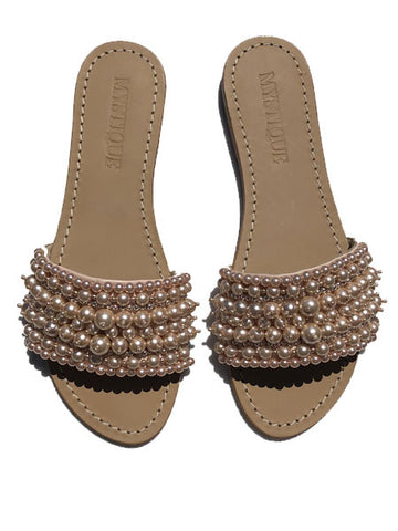 Mystique Sandals - Pearl Slides - Blush