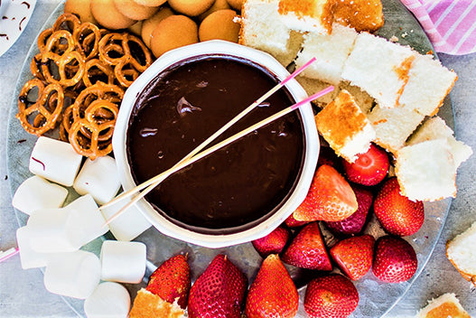 Dark Chocolate Fondue with Blood Orange Olive Oil & Aged Balsamic