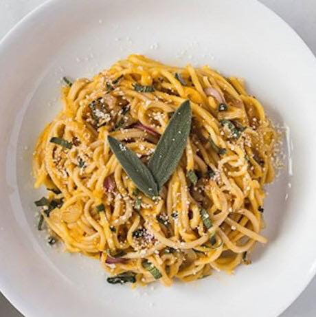 Pasta with mushroom-sage olive oil, fried sage leaves, and pecorino