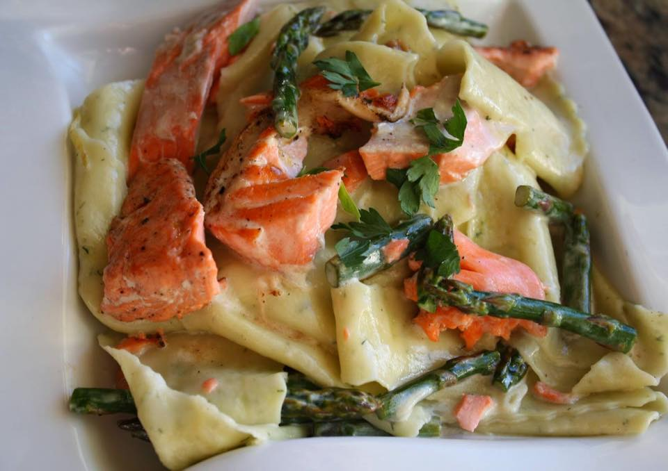 Grilled Wild Salmon and Asparagus in a Wild Fernleaf Dill Olive Oil and Lemon Cream Sauce over Dill infused Pappardelle