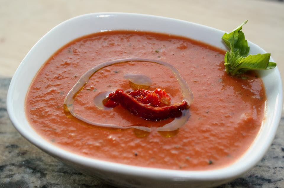 Cream of Roasted Red Pepper Soup with Tuscan Herb Olive Oil