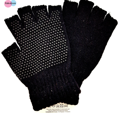 Black Super Soft Magic Gripper Fingerless Thermal Winter Gloves Work ppi gloves