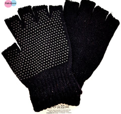 Black Super Soft Magic Gripper Fingerless Thermal Winter Gloves