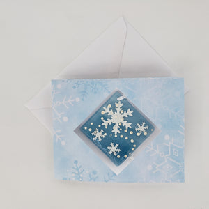 Hanging ornament, Snowflakes, light blue,  snowflake card