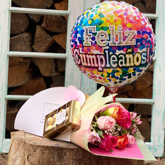 PACK 6 ROSAS DE COLORES + CHOCOLATE FERRERO ROCHER + GLOBO