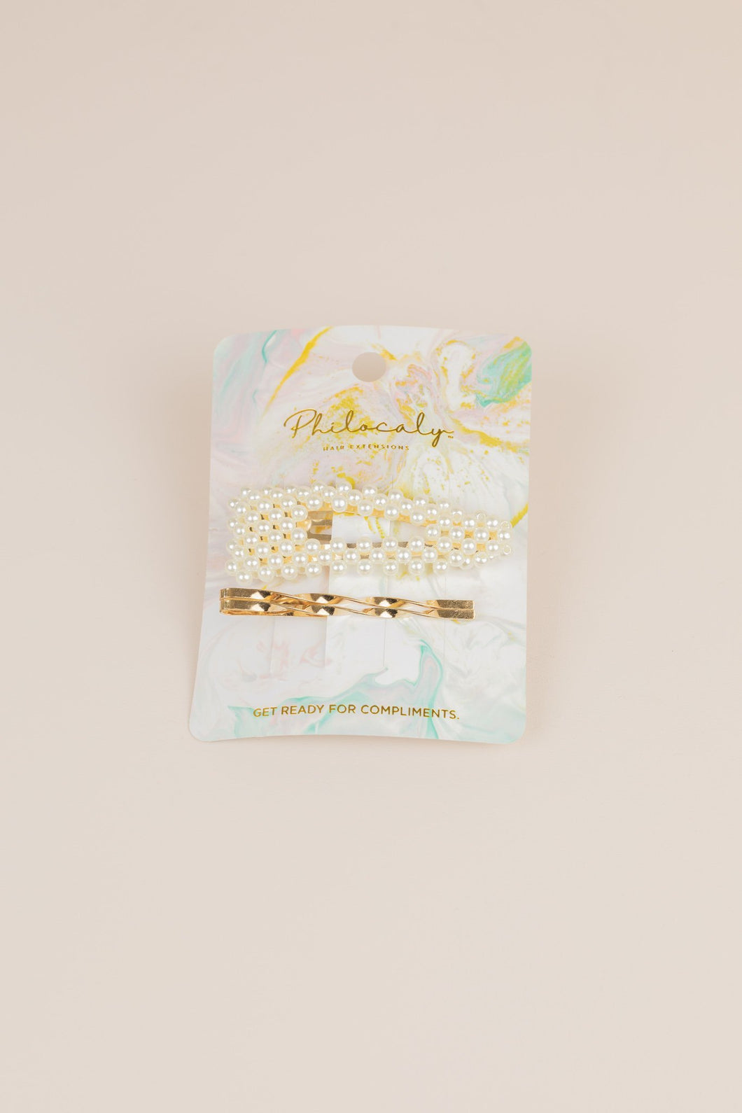 Philocaly Fashionably Late Pin Set (Gold/Pearl)