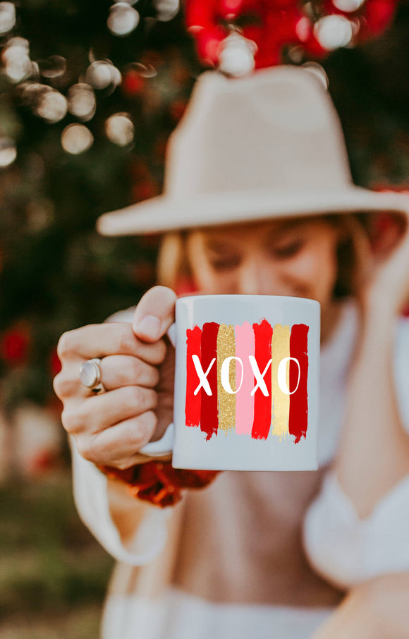 XOXO Brushstrokes - Valentines Day Coffee Mug