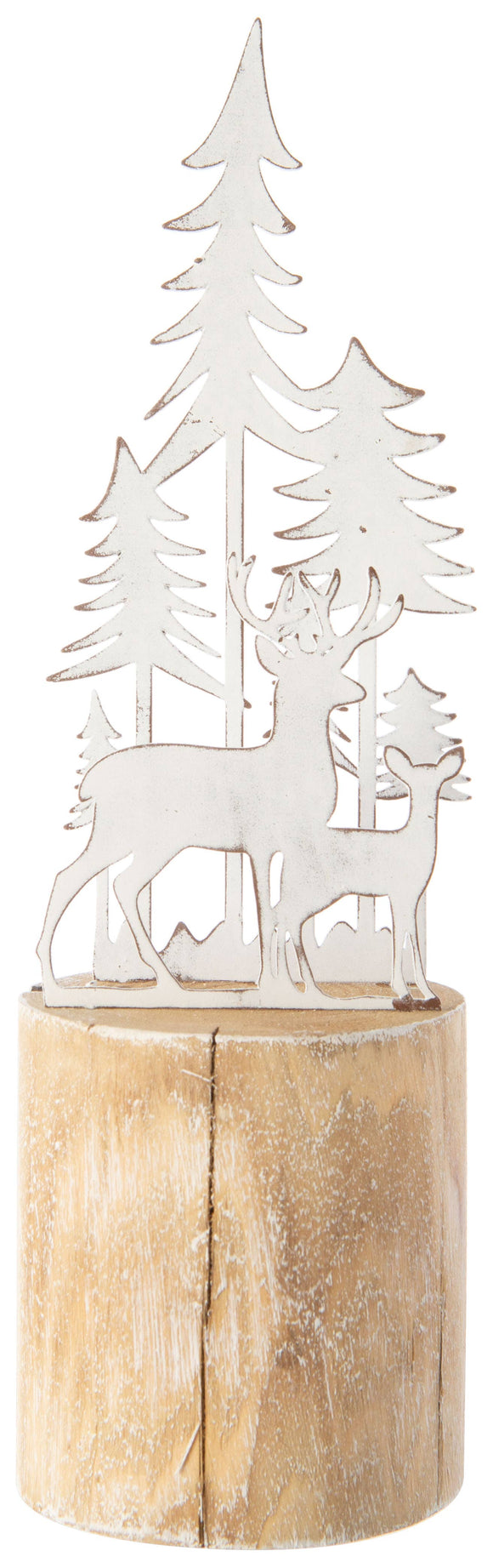 White Metal Reindeer in Forest