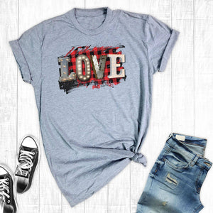 T-Shirt Red Plaid Love ~ Small