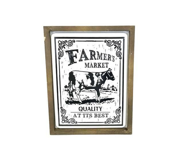 Distressed Farm Image in Wooden Frame