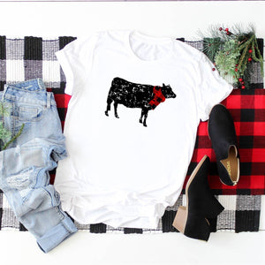 Christmas Graphic Shirt- Distressed Cow, Small