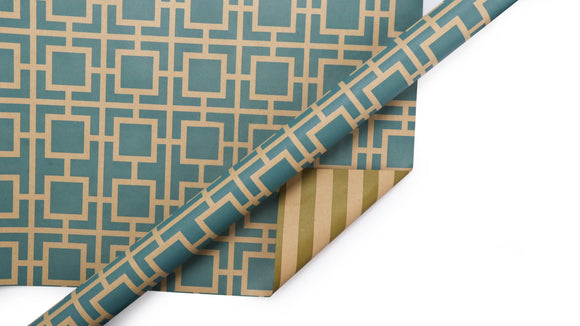 Trellis & Stripes Reversible Kraft Wrapping Paper Sheets