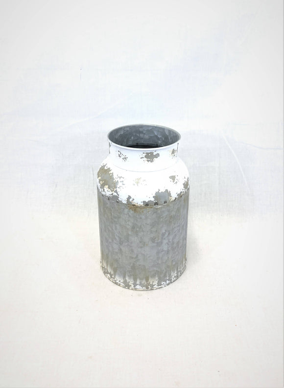 GRAY ZINC & WHITE WASH FLOWER CONTAINER
