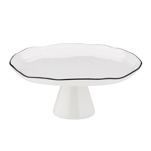 Large Pedestal Tray, White w/ Black Accent