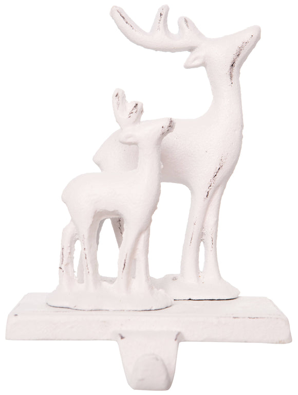 Antique White Deer/Fawn Stocking Holder