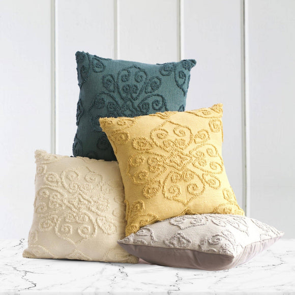 Damask Tufted Cotton Pillow - Blue