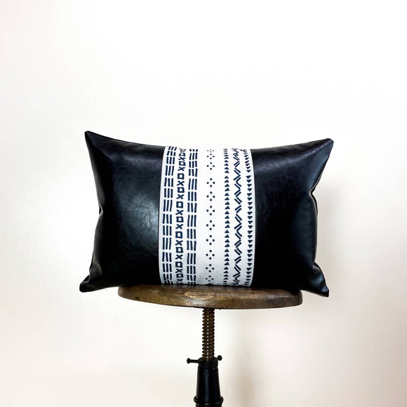 Lumbar Faux Leather Throw Pillow Cover