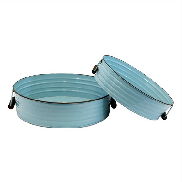 Aqua Blue Round Metal Trays