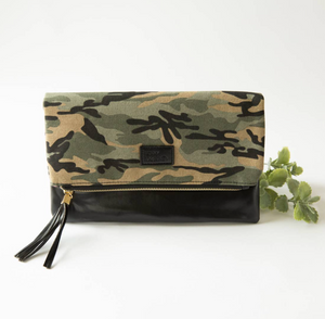 Fold Over Clutch - Camo & Black with Pink Lining
