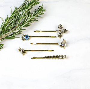 Retro Rhinestone & Goldtone Bobby Pin Set
