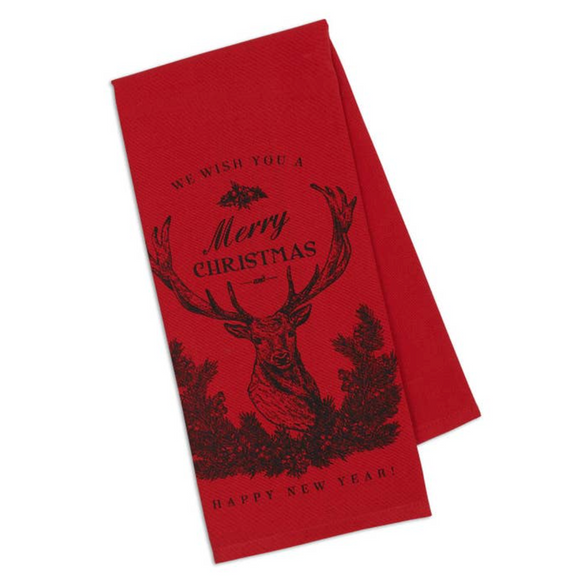 Christmas Stag Printed Dishtowel
