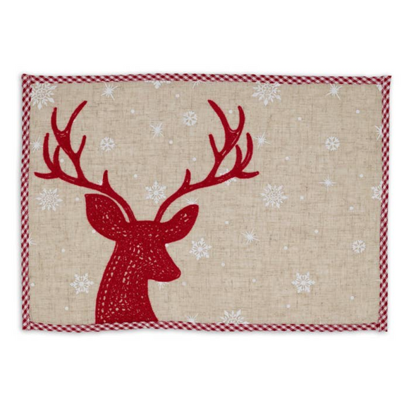 Red Reindeer Embroidered Placemat