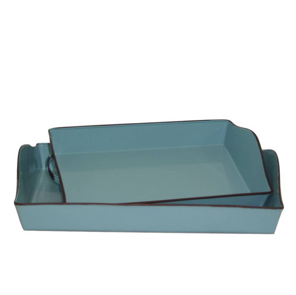 Aqua Blue Rectangular Metal Tray