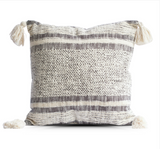 Diamond and Stripes Throw Pillow with Tassels