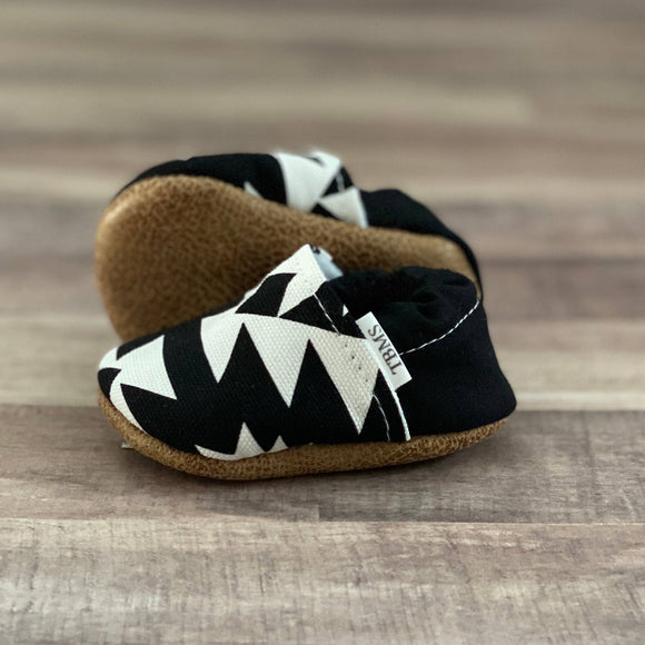 Black and White Aztec Moccasins 0-3 months