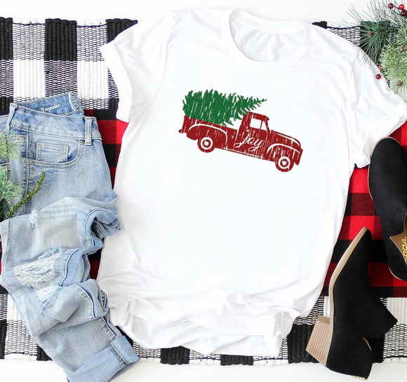 Christmas Graphic Shirt- Red Vintage Truck, Large