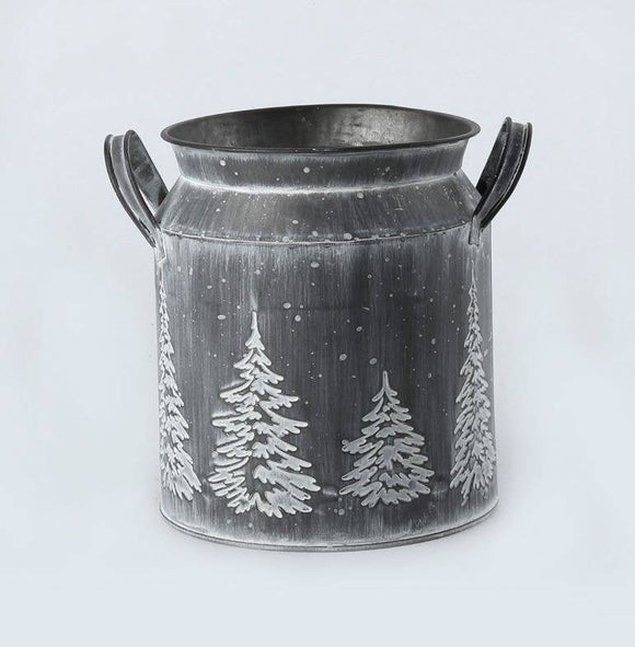 WHITE WASH SHORT EMBOSSED  MILK CAN