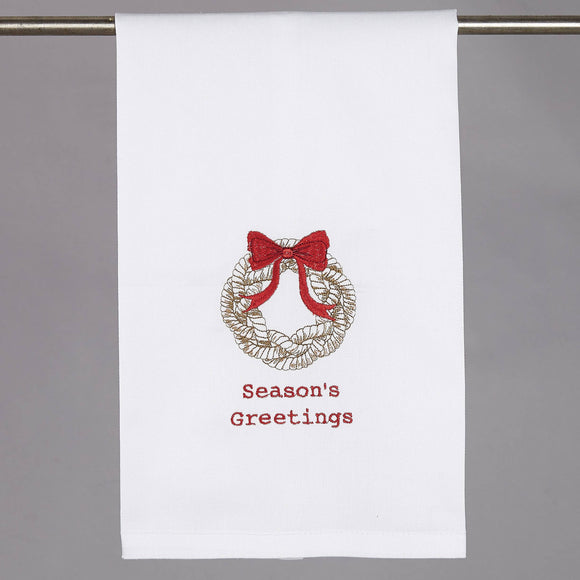 Nautical Wreath Embroidered Kitchen Towel - Christmas