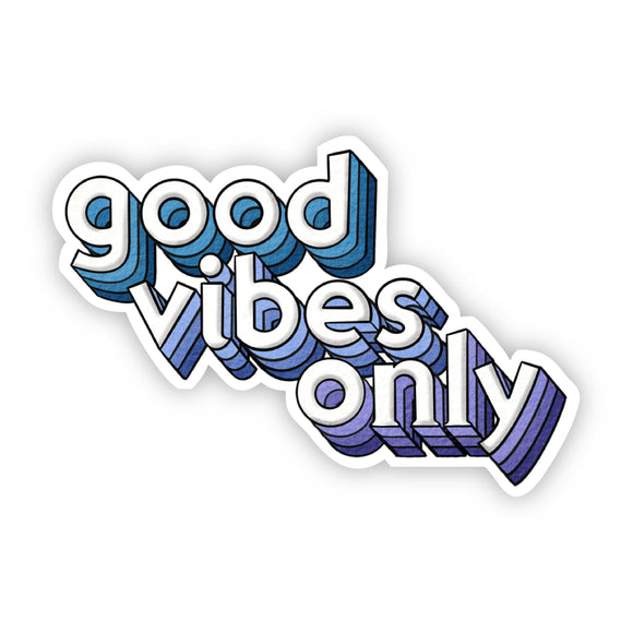 Good Vibes Only Blue Lettering Sticker