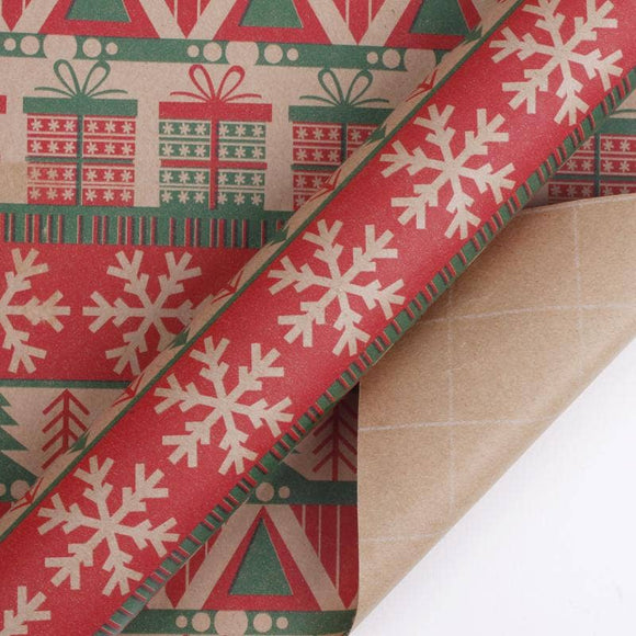 Knit Kraft Natural/Red/Green Wrapping Paper Roll