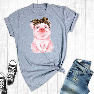 T-Shirt Watercolor Leopard Pig Light Grey