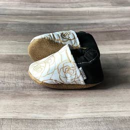 White And Gold Rose Moccasins ~ Baby 3-6 Months