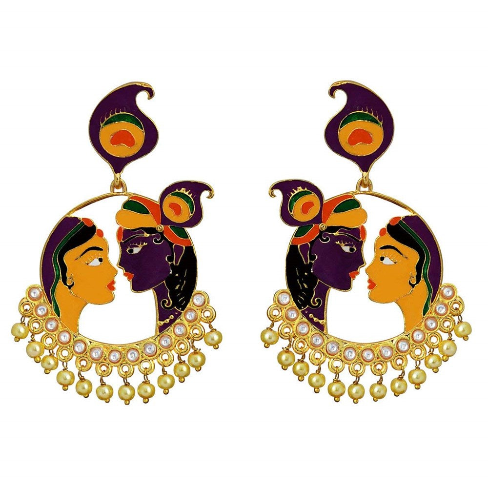 amaira radha krishna bali brass jhumki earring yellow and purple