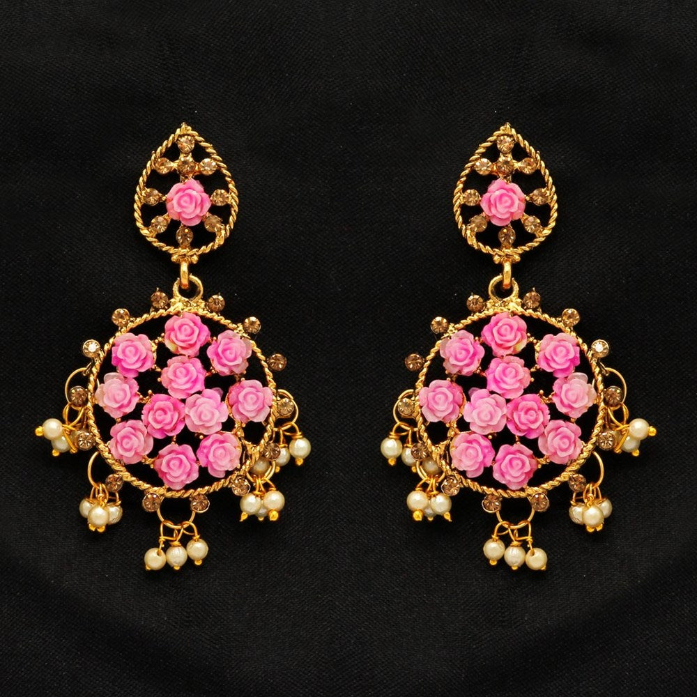 Pink color rhinestone antique earrings