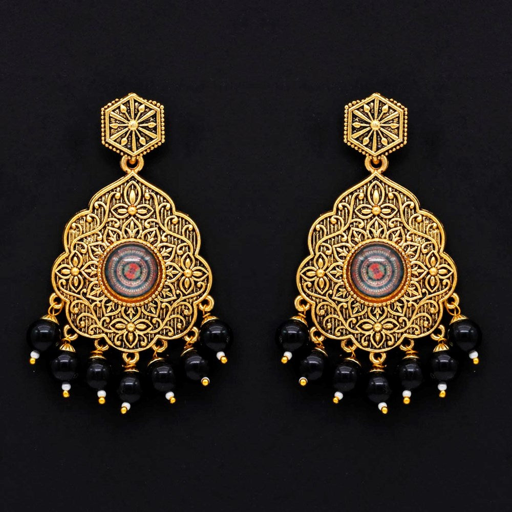black color glass stone antique earrings
